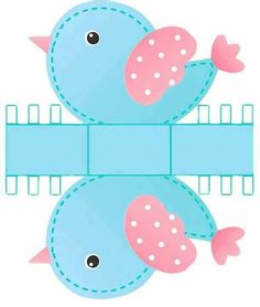 Pink and Light Blue Bird: Free Printable Box. Paper Box Template, Bird Free, Printable Box, Printables, Bird Party, Bird Boxes, Baby Box, Paper Toys, Diy Paper