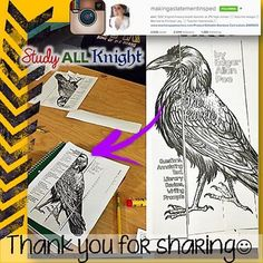 Thank you! Erin C. from @makingastatementinsped  Right from her classroom! She shared this awesome picture of her students engaged in the famous poem, The Raven, written by American author, Edgar Allan Poe.