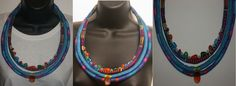 Leya Lives By Faith: Vibrant Blue Turquoise Coil Textile Necklace