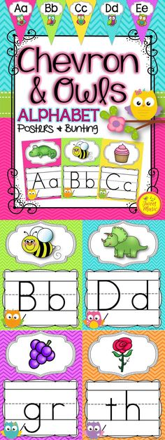 Decorate your classroom this year with this adorable Owls and Chevron Alphabet Posters and Bunting package. $