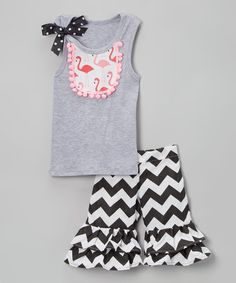 Love this Gray Flamingo-Bib Tank & Ruffle Shorts - Infant, Toddler & Girls on #zulily! #zulilyfinds