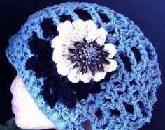 CHUNKY BLUE TAM Beret. hat num 319... Crochet Pattern.....Sizes age 1 to Adult...Instant download