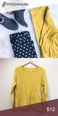 Merona Mustard Long-Sleeve Tee Mustard colored Merona Ultimate Tee in excellent pre-loved condition.  ✅Offers On Items Over $10 ✅Bundle & Save Trades Off-Posh Modeling  Shop with ease; I'm a Suggested User. Merona Tops Tees - Long Sleeve
