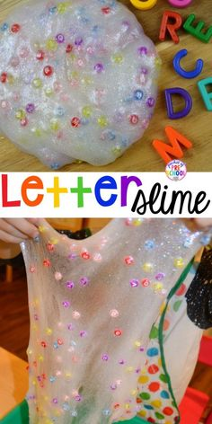 Letter SLIME – Find lettershide letters make names make sight words and talk about letter sounds. Perfect for preschool pre-k and kindergarten. - Life and hacks Preschool Letters, Preschool Science, Preschool Classroom, Toddler Preschool, Toddler Activities, Classroom Ideas, Letters Kindergarten, Preschool Curriculum, Homeschooling