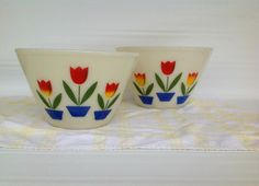 Set of 2 Tulip Fire King Bowls Vintage Milk by SophiasWonderland