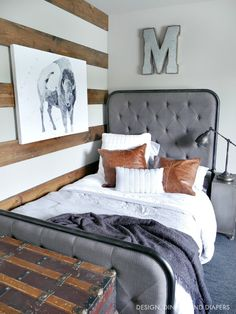 Rustic Modern Boys Room Reveal - Create a cozy yet modern space for your boy using industrial lines and lots of texture. Complete with a reading nook!