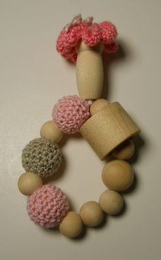 Crochet beaded teether/clutching toy... Eco by SmittysShop on Etsy