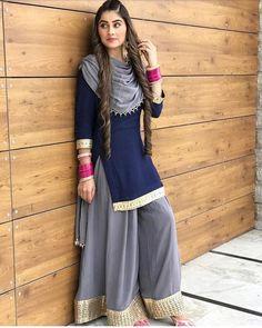 Items similar to navy blue colore designer suit bollywood style salwar kameez pakistani style salwar kameez plazzo dress on etsy. Pakistani Dresses, Indian Dresses, Indian Outfits, Western Dresses, Western Outfits, Designer Punjabi Suits, Indian Designer Wear, Stylish Dresses, Fashion Dresses