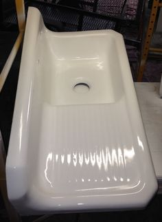 1930s Kohler Cast Iron Farmhouse Sink, (42 X 20) 8 Inch Back Splash Farm Sink, Low Apron, Left Drain Board