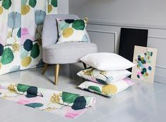 Designed by Minna Niskakangas, picturesque Paletti (Palette) fabric has been printed with digital printing technique. Curtain Call, Floor Chair, Accent Chairs, Colours, Curtains, Flooring, Furniture, Fabrics, Home Decor