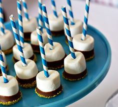 These could also be S'mores on a stick if you dip them in crushed graham crackers instead of sprinkles! Or maybe just make them marshmallows and chocolate, no sprinkles, so you could stir one into a glass of hot cocoa? Yum!