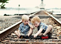 brothers on the train tracks