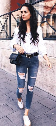 casual outfit inspiration / white shirt + bag + rips + sneakers