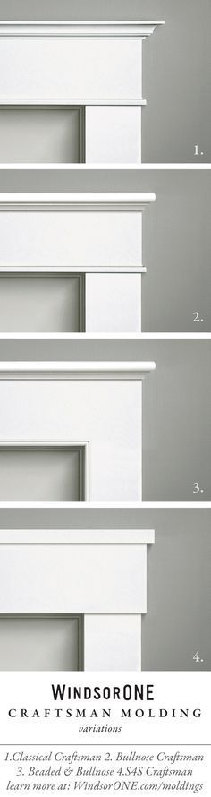 Craftsman Moldings, century style Craftsman Molding variations using WindsorONE Trim Boards and Moldings. Casing with header/frieze buildup.Craftsman Molding variations using WindsorONE Trim Boards and Moldings. Casing with header/frieze buildup. Window Molding Trim, Window Casing, Door Casing, Wall Trim, Moldings And Trim, Moulding, Crown Moldings, Door Frame Molding, Molding Ideas