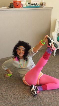 80's workout costume for Halloween, DIY fun costumes, 80's hair, 80's makeup www.slimcareinc.com