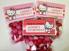 Hello Kitty Candy Bag Labels - Girl Birthday Party