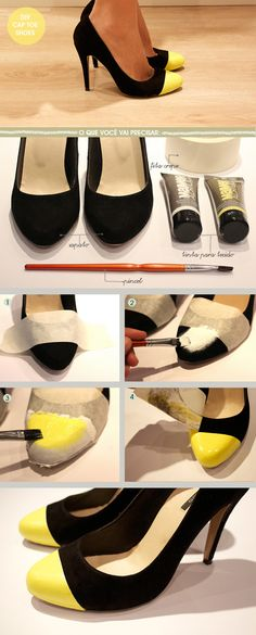 DIY capped toe heels! This black and pastel yellow is such a cool idea!