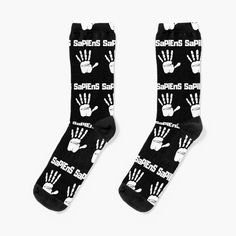 'Homo Sapiens Handprint white' Socks by RIVEofficial Designer Socks, Recycled Materials, Crew Socks, Sell Your Art, Chiffon Tops, Looks Great, Online Shopping, Trends, Knitting