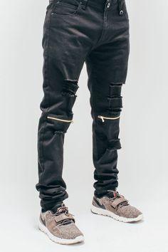 Black Destroyed Knee Jeans
