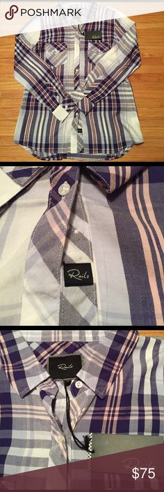 Rails flannel Brand new, never worn still with tags Rails flannel. Beautiful blue tones with light pink detail; the softest material ever. Gifted to me but never worn. Rails Tops