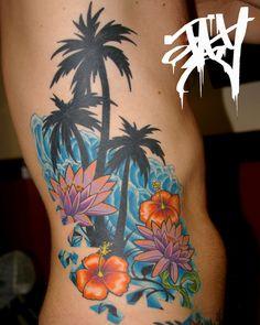 Jay marceau - tattoo artist from quebec city - work flower tattoos tattoos, Tiki Tattoo, Surf Tattoo, Hawaiianisches Tattoo, Piercing Tattoo, Hawaiian Girl Tattoos, Hawaii Tattoos, Baby Tattoos, Love Tattoos, Beautiful Tattoos
