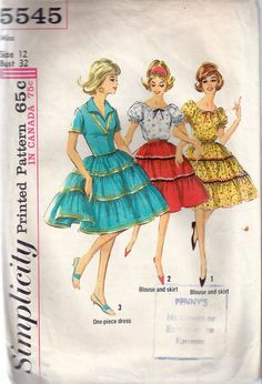 """Vintage 1964 Simplicity 5545 Square Dance, Peasant One-Piece Dress, Blouse & Skirt Sewing Pattern Size 12 Bust 32"""" by Recycledelic1 on Etsy"""