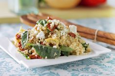 Couscous w/ Sun-Dried Tomatoes. Couscous with Sun-Dried Tomatoes Artichokes and fresh Spinach. Couscous Recipes, Couscous Salad, Couscous Ideas, Pasta Recipes, Vegetarian Cookbook, Vegetarian Recipes, Mediterranean Couscous, Eating Organic, Side Dish Recipes