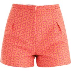 Sophie Hulme Geometric jacquard shorts ($183) ❤ liked on Polyvore featuring shorts, bottoms, pants, short, neon orange shorts, high waisted zipper shorts, neon shorts, neon pink shorts and high rise shorts