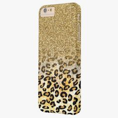 Cute iPhone 6 Case! This Cute girly trendy yellow gold faux glitter leopard barely there iPhone 6 plus case can be personalized or purchased as is to protect your iPhone 6 in Style!