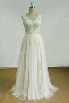 Romantic Ivory Backless tulle lace wedding dress with champange lining (258.99 USD) by MermaidBridal