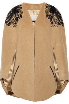 Jason Wu embellished shoulder camel cape