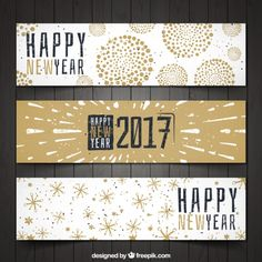 Set of three vintage happy 2017 banners  Free Vector