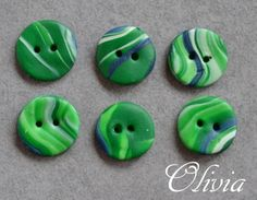green / blue colored buttons, nr 118 from Olivia's shop by DaWanda.com