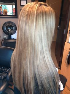 Blonde highlighted hair with keratin treatment
