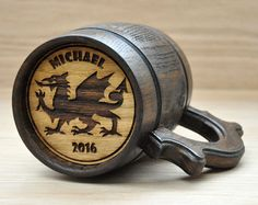 Personalized wooden beer mugs Prince of Wales by MUGFORGIFTS