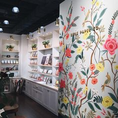 """Anna Bond on Instagram: """"the @riflepaperco #NYNOW booth is all set up and ready to go for tomorrow. loving the new wall mural with our Shanghai Garden print on it for the show! #riflepaperco"""""""