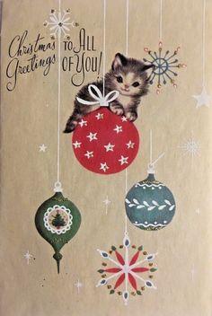 VINTAGE MID CENTURY DARLING KITTEN SITTING ON ORNAMENT CHRISTMAS CARD