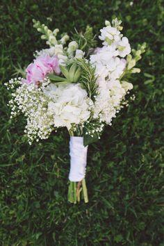 Peonies, hydrangeas, baby's breath, and rosemary bouquet {Erik Kruthoff Photography}