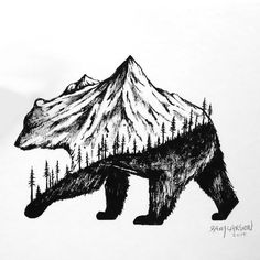 An Image of nature's harmony with all life forms. A mountain bear in motion, with forest in the bottom and a mountain on the top, representing freedom.. Color: Black. Tags: Cool, Creative, Beautiful, Meaningful