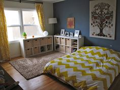 Montessori room -love this layout. Shelving units from Ikea.     twobedroomsandababy.com