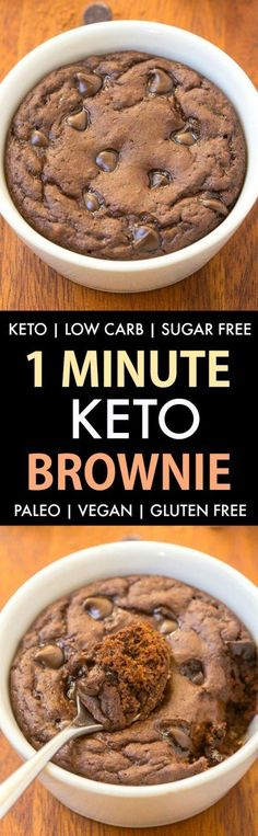 Keto Brownie (Paleo, Vegan, Sugar Free, Low Carb)- An easy mug brownie recipe which takes one minute and is super gooey.