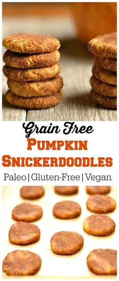 Grain-free Pumpkin Snickerdoodles are Paleo, Vegan, and Gluten-Free cookies that are perfect for the fall.