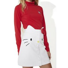 Lazy Oaf Hello Kitty Denim Skirt ($78) ❤ liked on Polyvore featuring skirts, denim skirt, button front skirt, bow skirt, a line denim skirt and knee length denim skirt