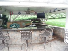 Custom Kitchen with Bar and Patio Covering