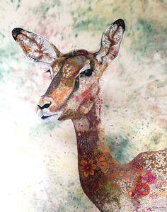 Female Impala textile embroidered art
