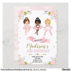 Cute ballerina birthday shower invitation 2nd Birthday Invitations, Shower Invitations, Custom Invitations, Girl 2nd Birthday, Ballerina Birthday, Colored Envelopes, White Envelopes, Artwork Design, Envelope Liners