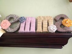 Letters wrapped in yarn...so cute.
