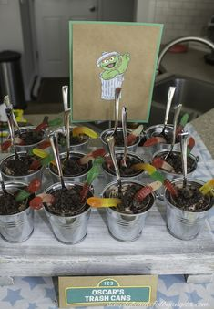 Simply Beautiful By Angela: Sesame Street Birthday Party. Oscars Trash Cans