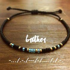 Brother + Morse + Code + Bracelet ++ Mens + Bracelet ++ Mens + Gift + gift for brother DIY Gift Ideas: 29 Handmade Gifts - Geschenk Bracelet Crafts, Jewelry Crafts, Man Bracelet, Diy Jewelry To Sell, Jewelry Making, Beaded Jewelry, Beaded Bracelets, Diamond Bracelets, Silver Bracelets