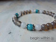 Balance - Energy Bracelet / Mala Bracelet - Crystal Healing Reiki Jewelry - Agate, Amazonite, Jade - OM or Angel Charm